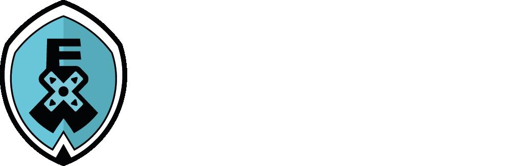 Der Schriftzug der Esports eXperience West. Links daneben das Logo als eine Art Schild in türkis mit den Buchstaben E X und W. Das X sieht dabei auch wie ein Controller-Steuerkreuz.