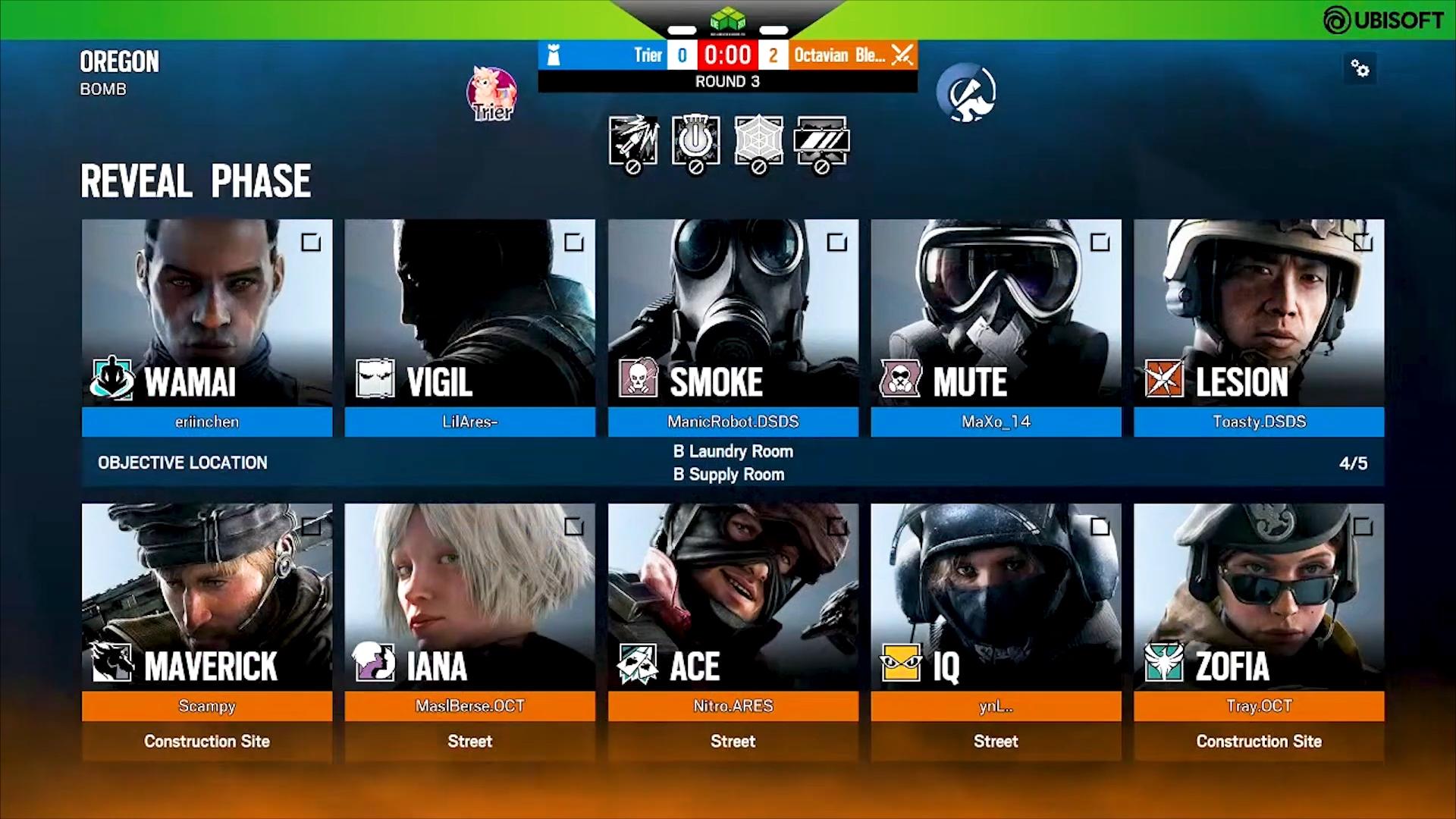 Das Bild zeigt den Auswahlbildschirm für Operatoren für das Spiel Rainbow Six Siege.