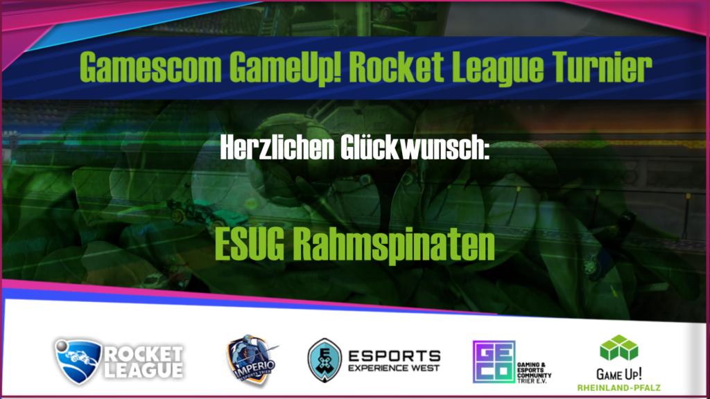 Ein Banner über den Gewinner des Gamescom GameUp Turnieres: Die ESUG Rahmspinaten